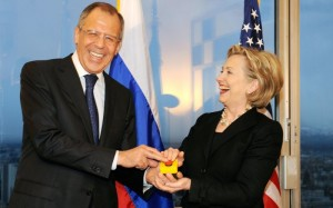 Hillary and Lavrov (Pool photo by Fabrice Coffrini)
