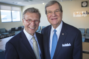 Former Senators Tom Daschle and Trent Lott at the WBUR studios. ()Jesse Costa/WBUR)
