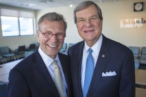 Former Senators Tom Daschle and Trent Lott at the WBUR studios. ()Jesse Costa/WBUR)